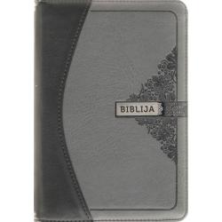 Biblija 12 x 17,5 cm, Ekumeninė, dvispalviu viršeliu su užtrauktuku