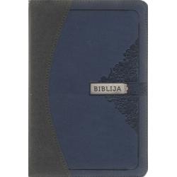 Biblija 12 x 17,5 cm, Kanoninė, dvispalviu viršeliu su užtrauktuku