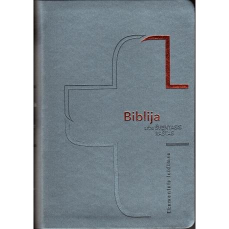 Biblija 14,5 x 21 cm, ekumeninė, lanksčiais viršeliais 2020 m. melsva