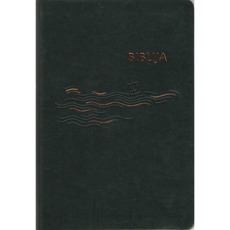 Biblija 14,5 x 21 cm, kanoninė, lanksčiais viršeliais 2020 m. tamsiai žalia