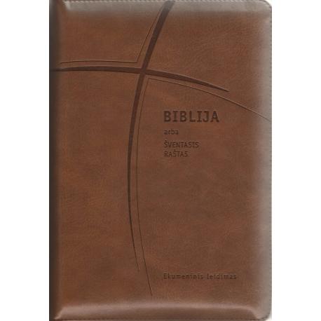 Biblija 15 x 22 cm, ekumeninė, su užtrauktuku 2019 m. ruda