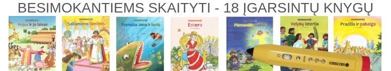 18 įgarsintų knygų bibliotekėlė su skaituku